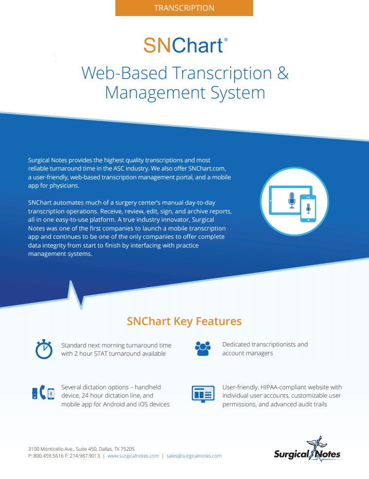 ASC Transcription | ASC Coding Software | Surgical Notes